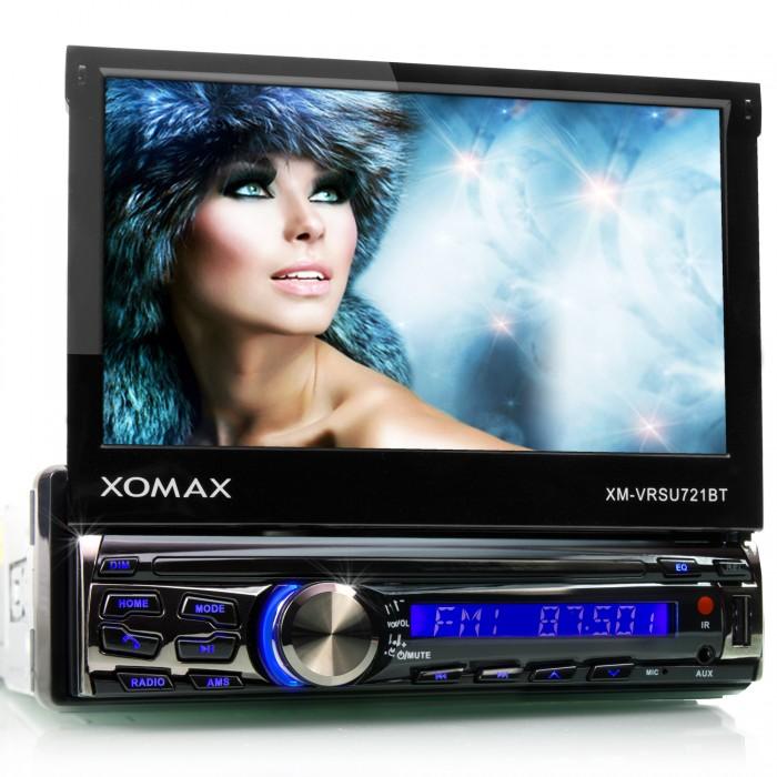 AUTORADIO-MIT-BLUETOOTH-18cm-TOUCHSCREEN-USB-SD-64GB-MP3-1DIN-MONICEIVER-OHNE-CD