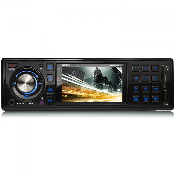 AUTORADIO-MIT-BLUETOOTH-3-7-6cm-MONITOR-USB-SD-MP3-AUX-1DIN-MONICEIVER-OHNE-CD